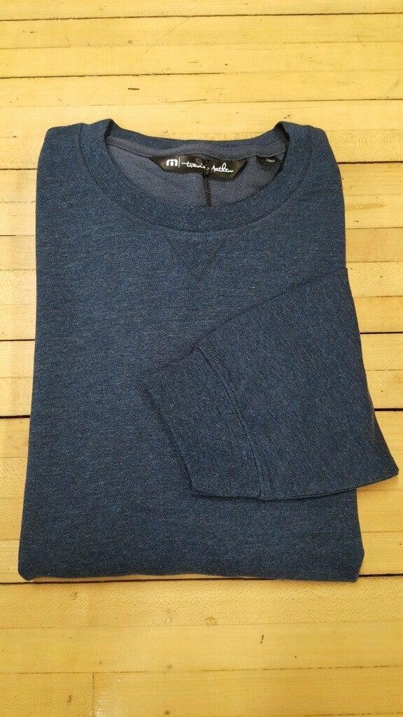"Travis Matthew Long Sleeve Light Weight Crew Sweater ""Heather Blue Nights"""