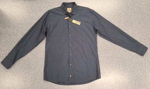 Tall Button Front Woven LS Shirt-Navy/Brown
