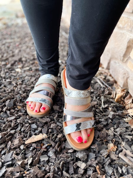 Roya | Strappy Gunmetal Studded and Snakeskin Sandals