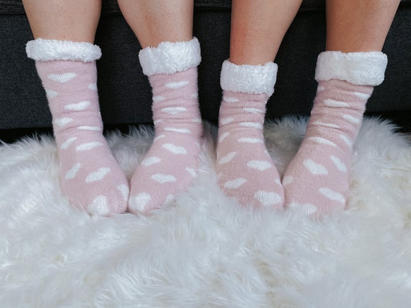 Heart Fuzzy Slipper Socks   Womens