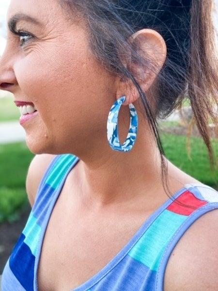 """CoCo Beach   Multi-Color Lucite 2"""" Hoop Earrings"""