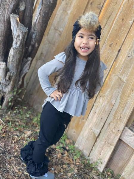 Josie Flutter Sleeve High Low Peplum: Ice Gray