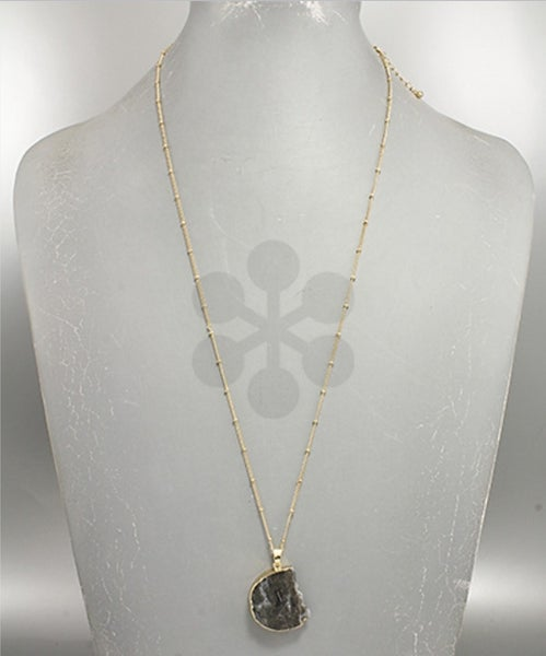 Tara | Gold Foil Wrapped Stone Necklace