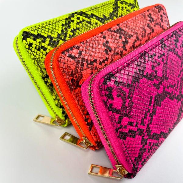 Neon Snakeskin | Trifold Zipper Wallet