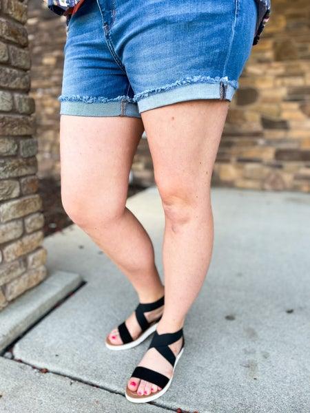 PLUS/REG Judy Blue Medium Wash Cuffed Shorts