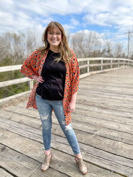 Sarah B. Cheetah Cardi Kimono