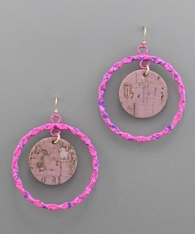 Amanda   Cork Circle & Splattered Earrings