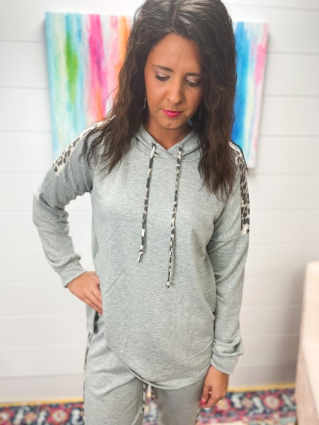 Morgan | Gray with Leopard Detail Lightweight Hooded Tunic