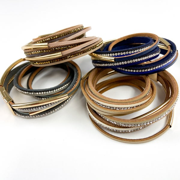 Meredith Grey | Bling + Leather Wrap Bracelets