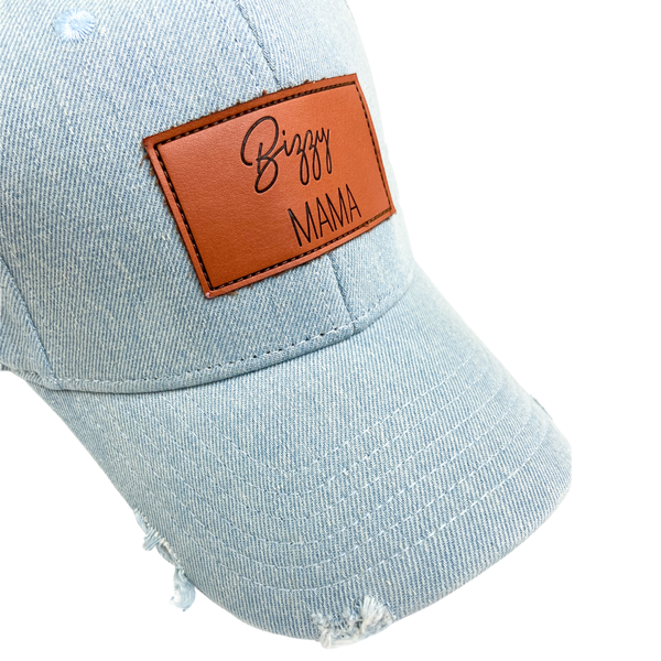 Bizzy Mama Denim Distressed Hat