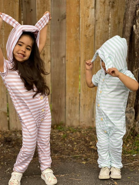 Bella Bunny Striped Hooded Romper