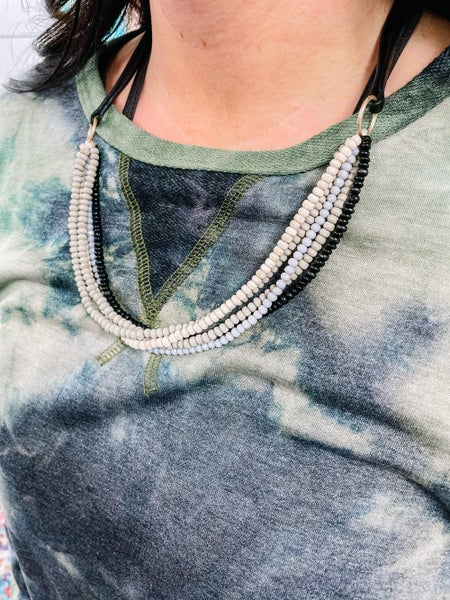 Janelle Wooden-Beaded Necklace