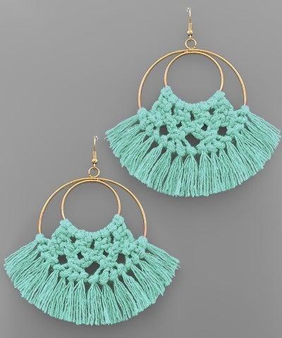 Hannah   Thread Fringe Circle Earrings