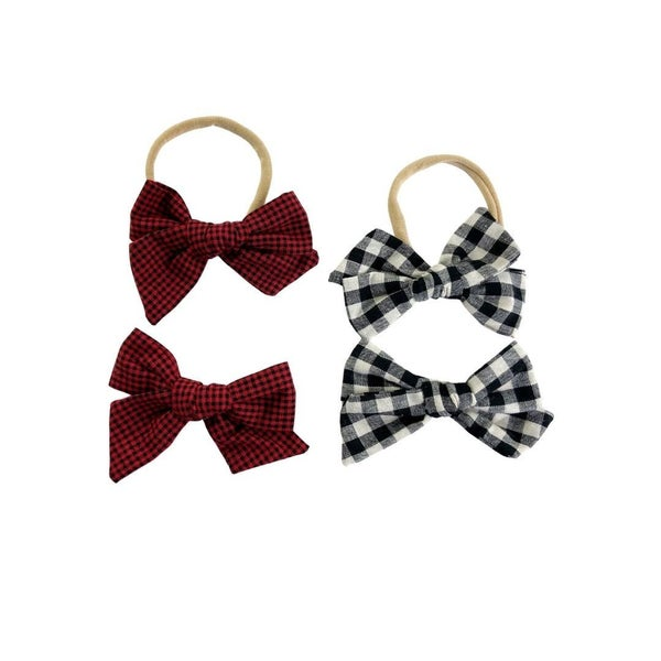 Flannel  Linen Bow Collection: Nylon or Clips: Set of Two