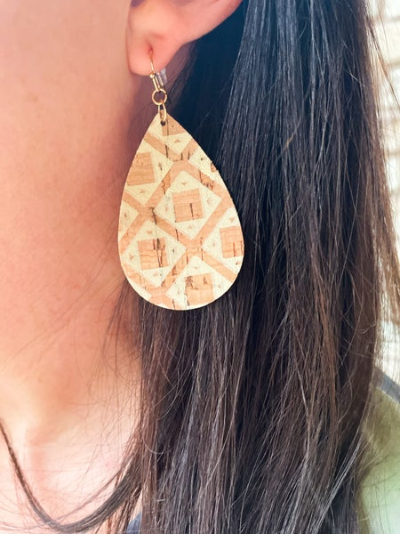 Sakura | Teardrop Cork Earrings