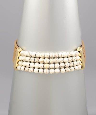Rebecca   Stone Bead Leather Bracelet