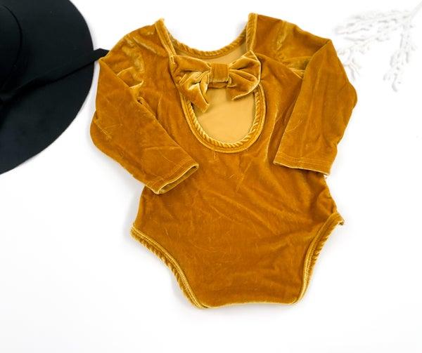 Golden Velvet Izabelle Bow Leotard