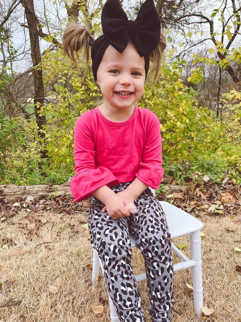 Girls Bizzy Butter Leggings: Gray Cheetah