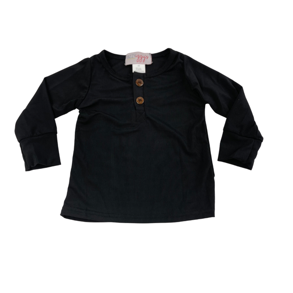 Black Ribbed Henley Top