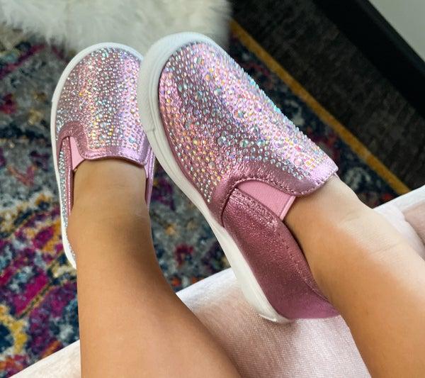 Aspyn Slide-On Sneaker | Pink Rhinestone