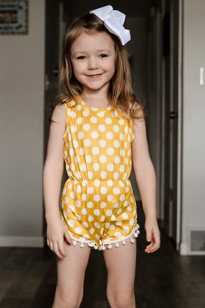 Delilah Yellow Pom-Pom Dotty Romper