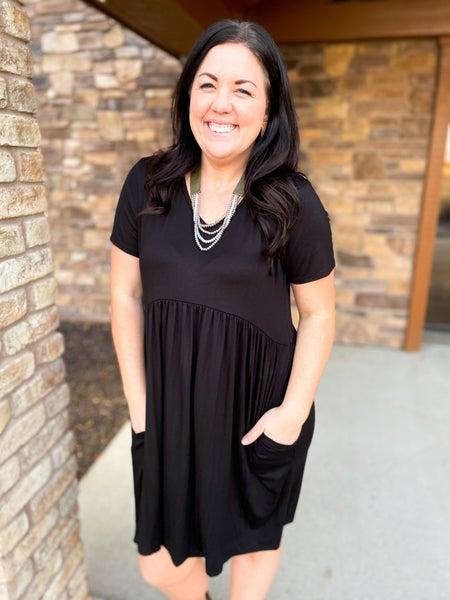 Laurel   Basic Black Dress with Pockets