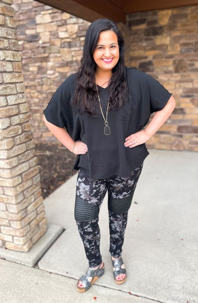 Naomi   Flowy Dressy Short Sleeve Polyester Top
