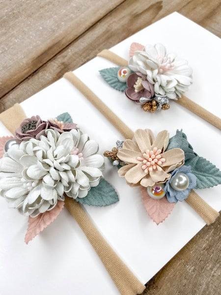 Dusty Petals  Nylon Headbands { Set of 3}