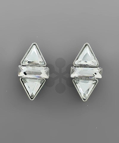 Victoria | Double Triangle Center Post Earrings