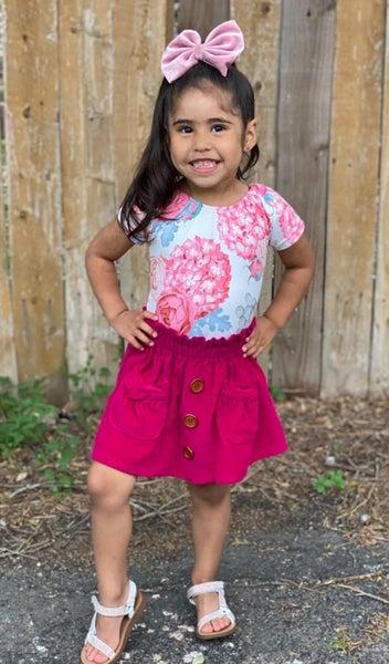 Juliet Pink Corduroy Paper Bag Skirt