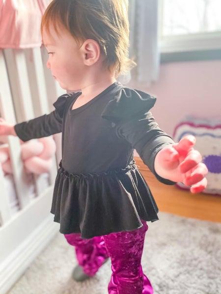 Josie Flutter Sleeve High Low Peplum: Black