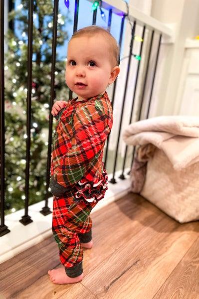 Girls Ruffle Retro Christmas | One Piece Pajamas