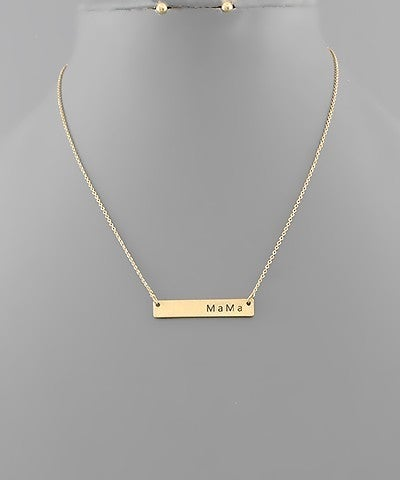 MAMA Engraved Bar Necklace