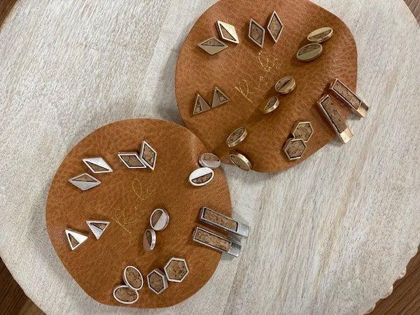 Ashlie Mo   Cork & Brushed metal Stud Earrings