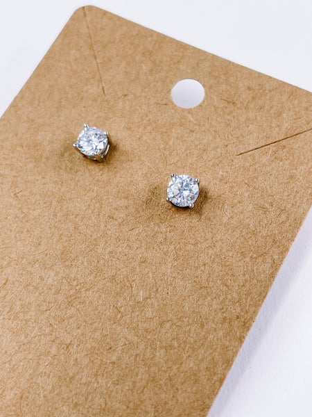 Diamond Cubic Zirconia Round Stud Earrings