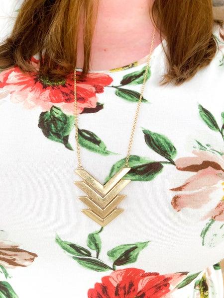 Joanna   Herringbone Brushed Metal Necklace