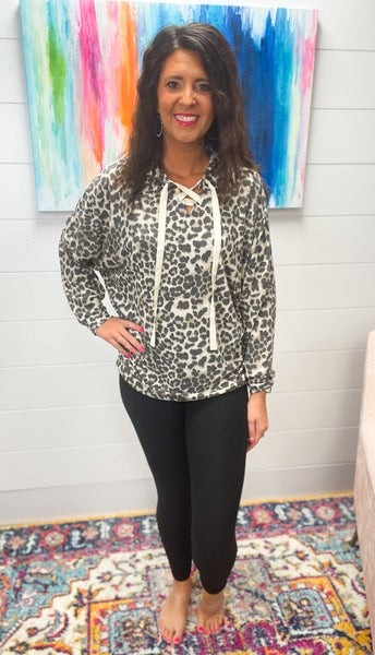 Shirley   Lightweight Hooded Leopard Tunic with Criss Cross Tie