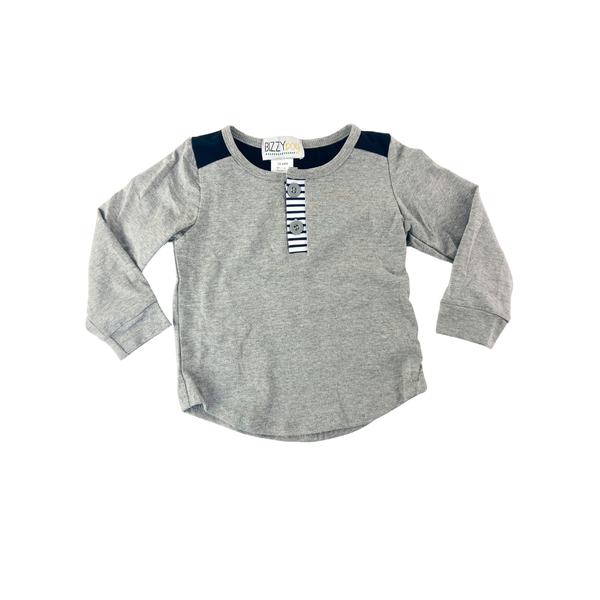 Hudson Heather Gray and Striped Tee