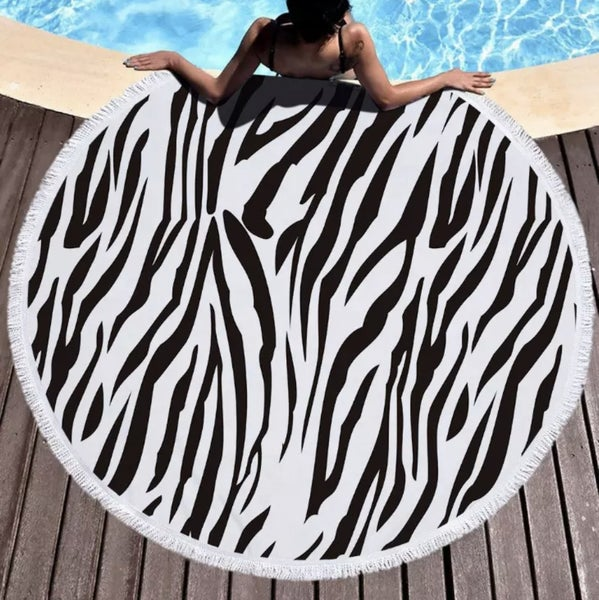 ROUND Beach Towel | Microfiber with Fringe Border