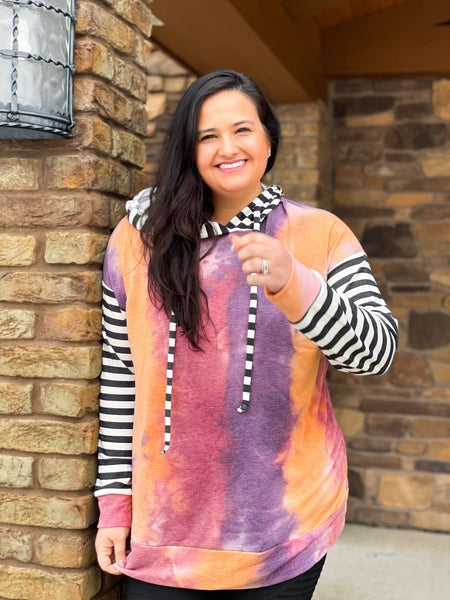 Atlanta Sale: Laura Hoodie with Stripes: Bright Colors