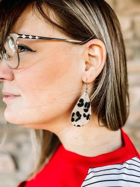 Leather Teardrop Double-Sided Earrings