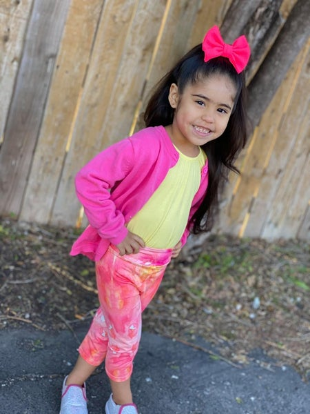Girl's | Bizzy Butter Capris : Stacia Pink & Orange Watercolor