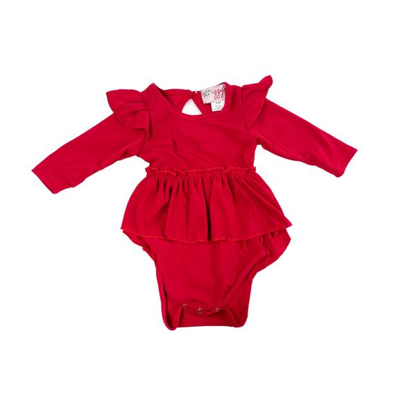 Josie Flutter Sleeve High Low Peplum: Red