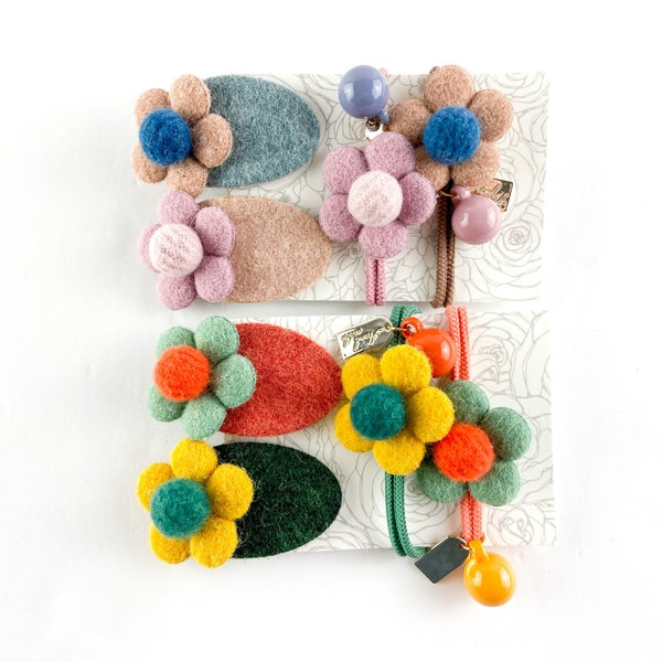 Felt Flower Barrettes and Hair Ties