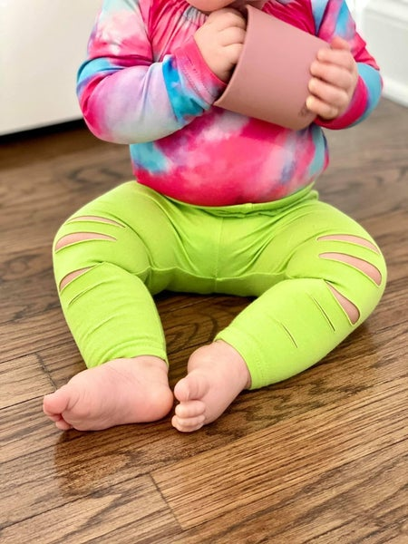 Lime Green Ripped Leggings