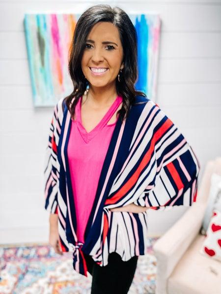 Samantha | Striped Kimono Top