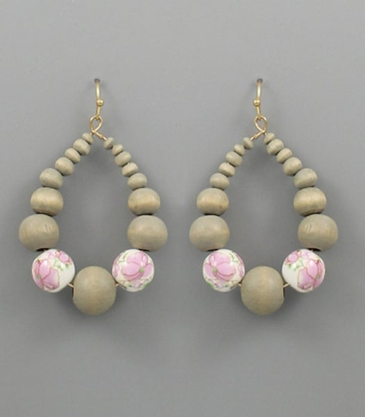 Stacia |Teardrop Wooden Bead with Floral Accent Bead Earrings