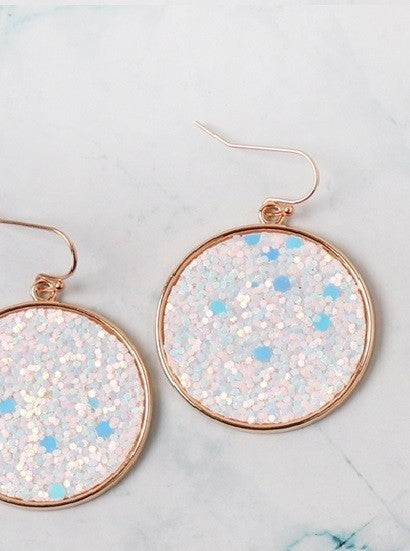 Glitz + Shimmer Round Drop Earrings | Various Colors