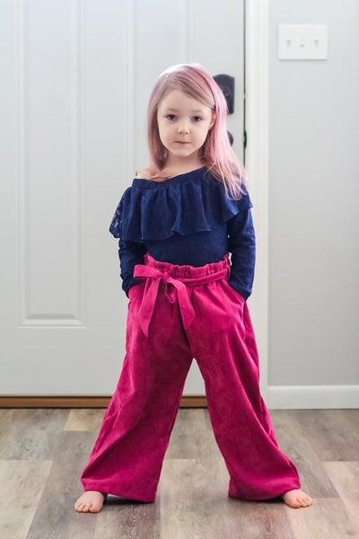 Mya Paperbag Corduroy Wide leg  Pants: 2 Colors
