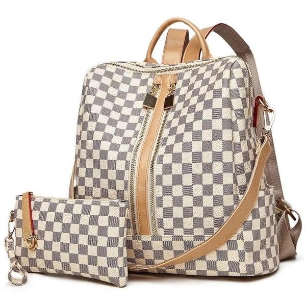 Luxury inspired Checkered Backpacks + Wristlet
